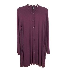 Eileen Fisher tunic knit top stretch button front
